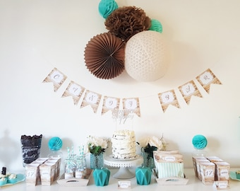 Set decoration for candy bar-personalized - ready to decorate - babyshower, baptism, wedding or anniversary - wood and green jade balls