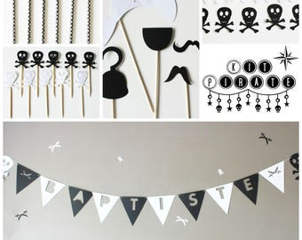 BOX decoration birthday pirate photobooth-Garland-paper straws-toppers-head skull - black and white