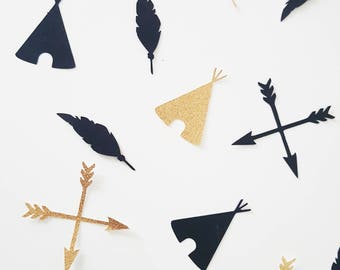 10 confetti-Teepees arrows-paper 210 gr - black and gold glitter feather - baptism - birthday-wedding table decoration