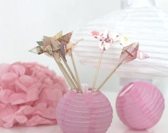 6 mini origami butterflies pastel pink wooden skewers