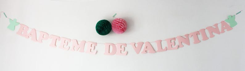 Garland name cotton cordon 2 angels or star, heart name paper baptism of