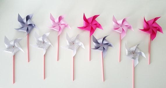 Mills Hat Wind Dekoration Taufe Hochzeit Rosa Graue Etsy