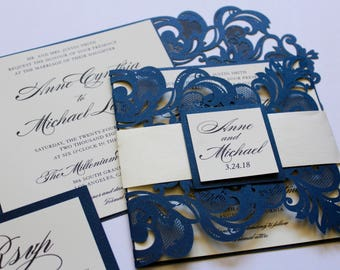 7f10a4e1856 Formal Laser Cut Wedding Invitations    Navy Blue Shimmer and Ivory