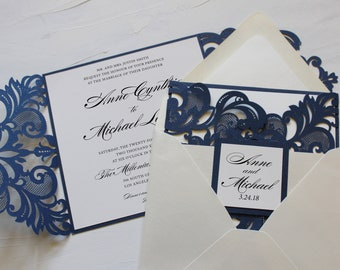 Square Script Laser Cut Wedding Invitations // Navy Blue Shimmer and Ivory