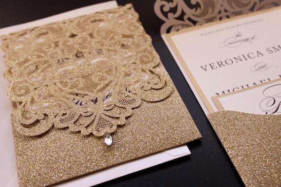 luxury glitter gold laser cut wedding invitations glam etsy