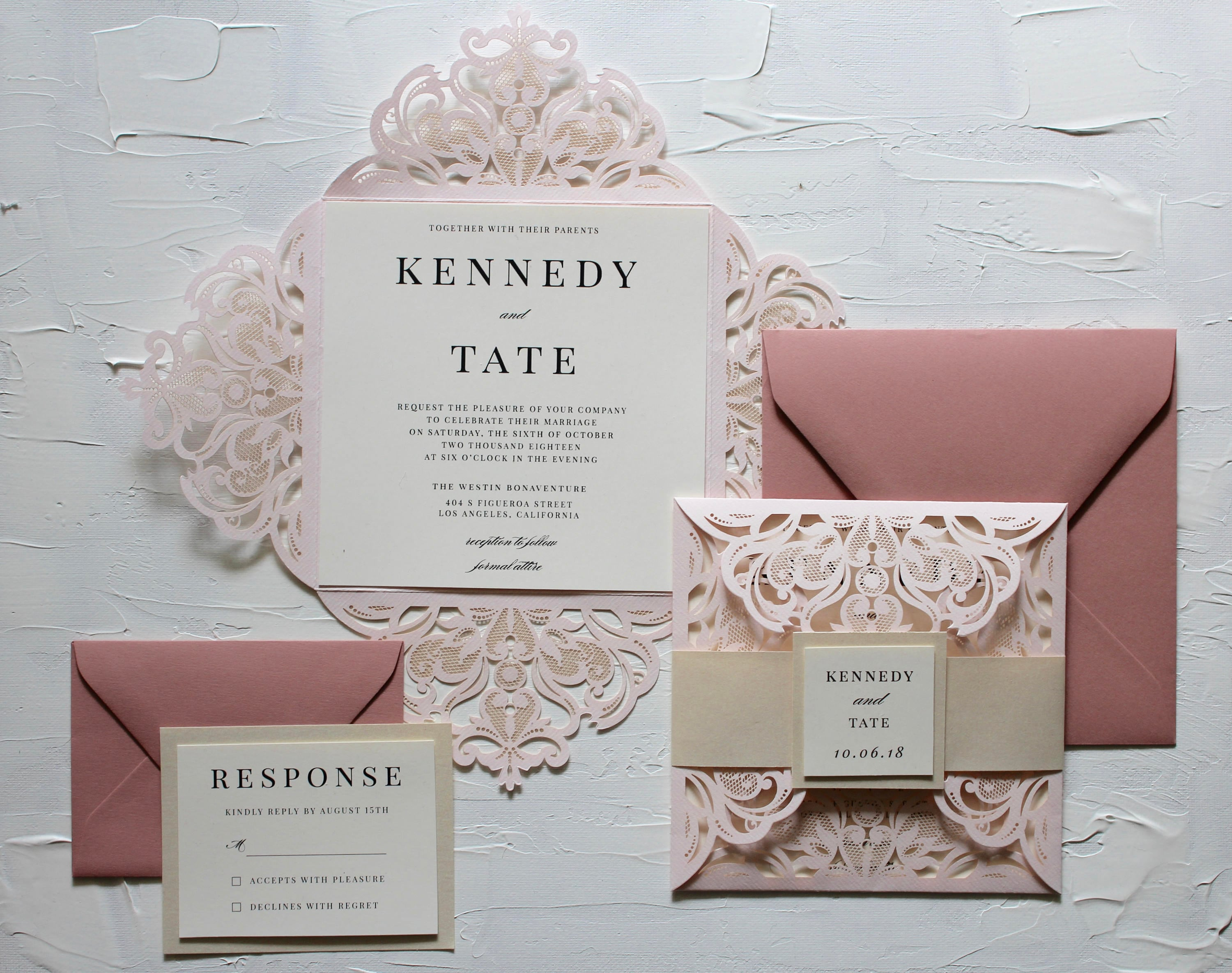 Romantic Blush Dusty Rose and Ivory Square Laser Cut Wedding