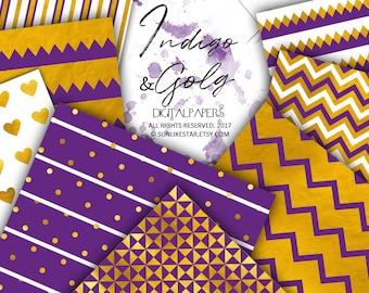 Purple Digital Paper, Gold Scrapbook Paper, Gold Background, gold foil patterns, gold digital paper, digital confetti paper, gold textures