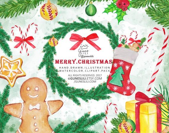 watercolor christmas clip art winter holiday clipart new etsy rh etsy com winter holiday clip art free winter holiday clip art borders