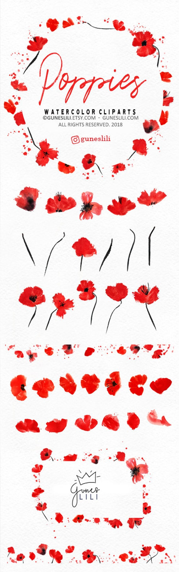 Watercolor Poppy Clipart Wreath Clipart Red Floral Clipart Etsy