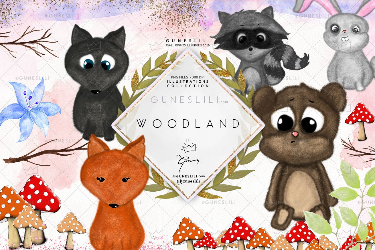Woodland Animals Clipart kit Digital Download Cute Baby Animal Nursery Clip  Art PNG fox bear wolf bunny raccoon illustration free commercial