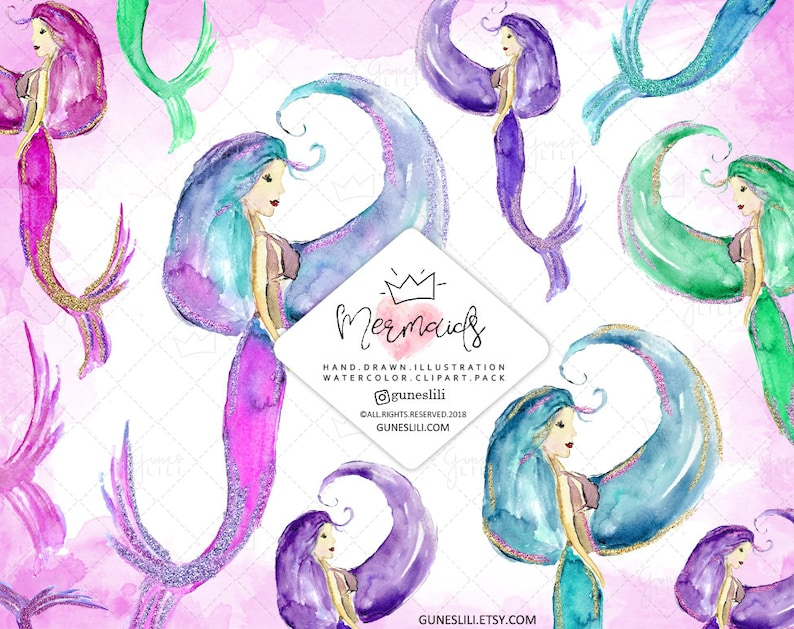 Watercolor Mermaid Clipart Free Commercial Use — mermaids illustration  summer clipart watercolor sea clip art hand painted mermaid graphics