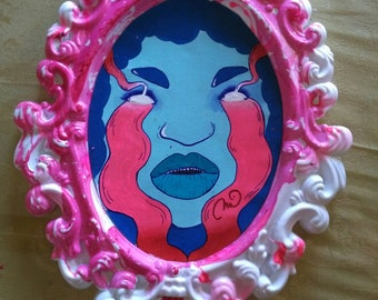 Red and Blue Crying Demon Blue Girl Painting Low Brow Art