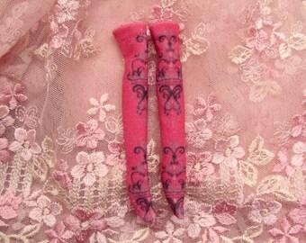 Blythe Over the Knee Sock Hold Up Doll Size Bright Sand Hot Pink Purple Damask 1:6 Custom lolita kawaii handmade fabric mesh cotton ooak