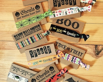 Halloween hair ties, halloween party favors, Halloween, trick or treat, treat bags, halloween, zombies, spooky,party gifts, accessories