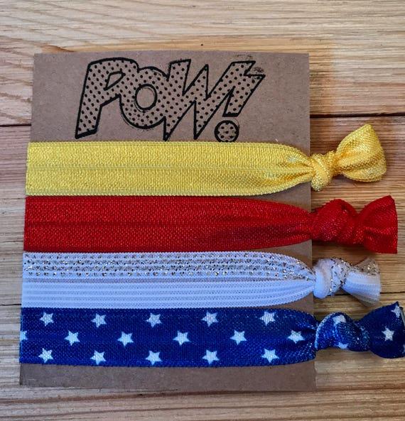 party favors Superhero hair ties girl birthday party hair ties Wonder Woman yoga hair ties Wonder Woman hair ties