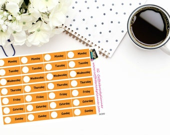 Planner Stickers |Date Header Stickers in Orange|Date Cover Stickers in Orange|Date Stickers in Orange|4 weeks of Date Header Stickers|DC002