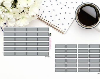 Planner Stickers|Box Stickers|Grey Box Stickers| Hourly and Vertical Planners| For use in a variety of planners and journals|HB015