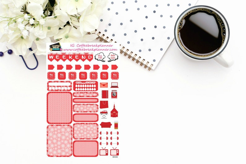 Planner Stickers Mini Kit in RedWeekly Mini Kit Boxes and image 0