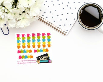 Planner Stickers | Coffee Cup Decorative Checklist Stickers| Coffee Cup Checklist Stickers|Checklist Stickers|Mini Sheet Coffee Cup Deco Chk