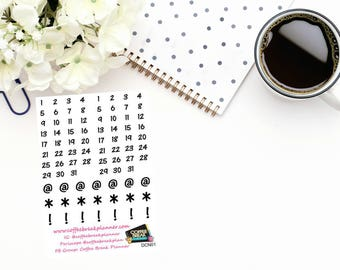 Planner Stickers| Number Stickers|Numbers for Date Header Stickers|Numbers for Your Planner|Monthly Dates for Your Planner|DCN01