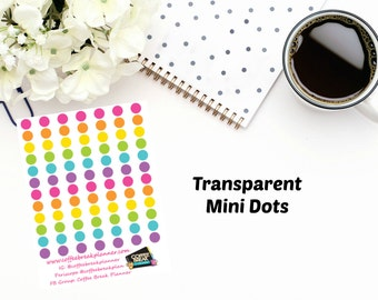 Transparent Planner Stickers | Mini Transparent Dots|For use in a wide variety of planners I023-M