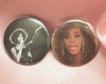 """Whitney Houston 1"""" Buttons - Pack of 2"""