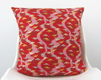 Cranes Pillow,  Cover, Red Pillow, Chevron Pillow, Japanese Kimono, Decorative Pillow, Cushion, Red, Dark red, white, gold, mint 18 x 18
