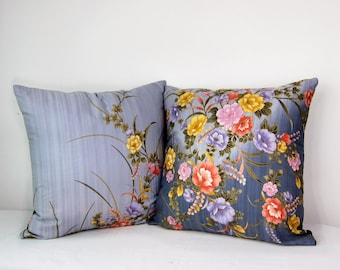 Decorative pillow , Blue Gray ombre FLORAL Pillow Cover, beautiful japanese flowers, kimono Cushion 18 x 18