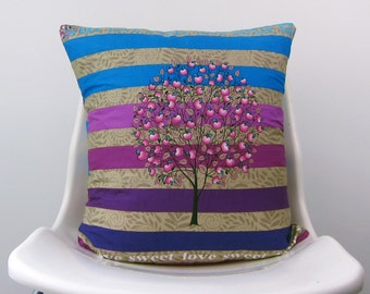 Tree of Life Pillow Cover, Decorative Pillow, apples, apple tree Beige, leaves, Purple, Stripes, polka dots, Blue 18 x 18  Cushion