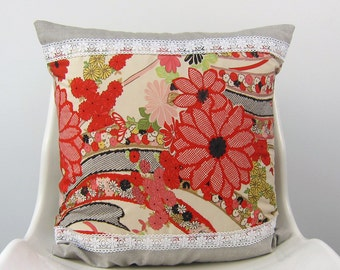 Pillow Cover Chrysanthemum and Gerbera, Cotton kimono, Lace, Linen, Beige, Red 18 x 18