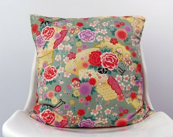 FLORAL Kimono Pillow Cover, roses, peonies, Japanese flower, bloom, Decorative Pillow, Cushion,  green, French Fuchsia, Lilac, yellow, pink
