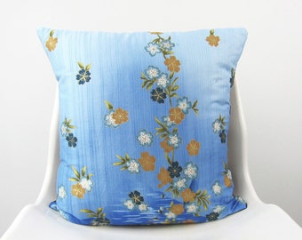 Blue FLORAL Pillow Cover, Decorative Pillow, Sky blue, Persian Orange, gold, gark, teal Cushion 18 x 18