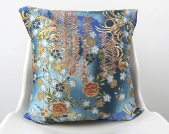 Blue FLORAL Ombre  Pillow Cover, Decorative Pillow, Persian Orange, gold, gark, teal Cushion 18 x 18