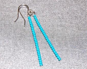 Turquoise Stick Earrings, Sterling Silver Dainty Dangle Earrings, Delicate Drop Earrings, Simple Long Thin Modern Earings Minimalist Jewelry