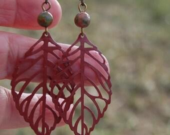 Bohemian Leaf Earrings, Unakite Gemstone Dangle Earrings, Rustic earrings,  Hippy Earrings, Red Boho Chic, Handmade Jewelry, Gift for her