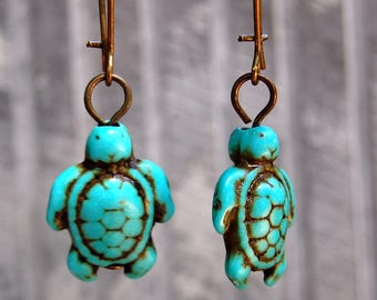 Turtle earrings, Turquoise Turtle Earrings, Small Dangle Earings, Sea Turtle Jewelry, Gift For her, fertility jewellery, Turtle Lover gift