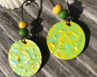 Unique Boho Earrings, Painted Earrings, Bohemian Earrings, Tribal Earrings, Dangle Earrings, Hippie Jewelry, Ethnic earrings, Gift for women