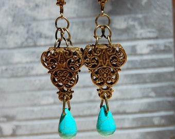 Teardrop Earrings, Turquoise Earrings, Bohemian Dangle Earrings, Boho Chic Jewelry, Ethnic earrings, Hippie, Tribal Earrings, Gift for her