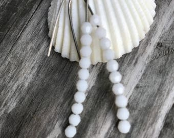 White Alabaster Crystal Titanium Earrings, Stick Earrings, Hypoallergenic Earring for Sensitive Ears, Simple Jewelry, Modern, Gift For Her