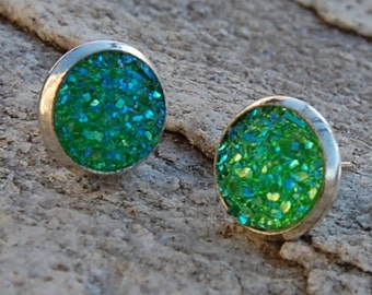 Green Druzy Stud Earrings, Simple Post Earrings, Gift for Her, Boho earrings, Christmas Gift Ideas for her, Bridesmaid gifts, Green Studs