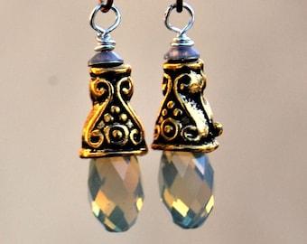 Swarovski Sand Opal Earrings, Gold Boho Dangle earings, hypoallergenic for sensitive ears, Gift for her, Mothers day gift, Handmade Jewelry