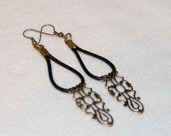 Leather and Lace Earrings, Gift For wife, Boho Chic, Bronze Ethnic Long Dangle Earings, bohemian Jewelry, Birthday present for girlfriend
