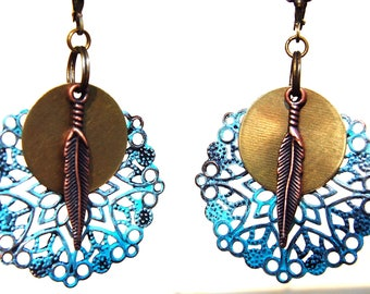 Tribal Earrings, Bohemian Earrings, Patina Earrings, Turquoise Earrings, Dangle Earrings, Boho Jewelry, Ethnic Boho Chic Hippie Gift for her