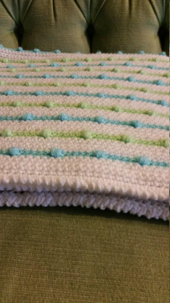 Blue Green White Baby Blanket Crochet Puffy Stripes Etsy