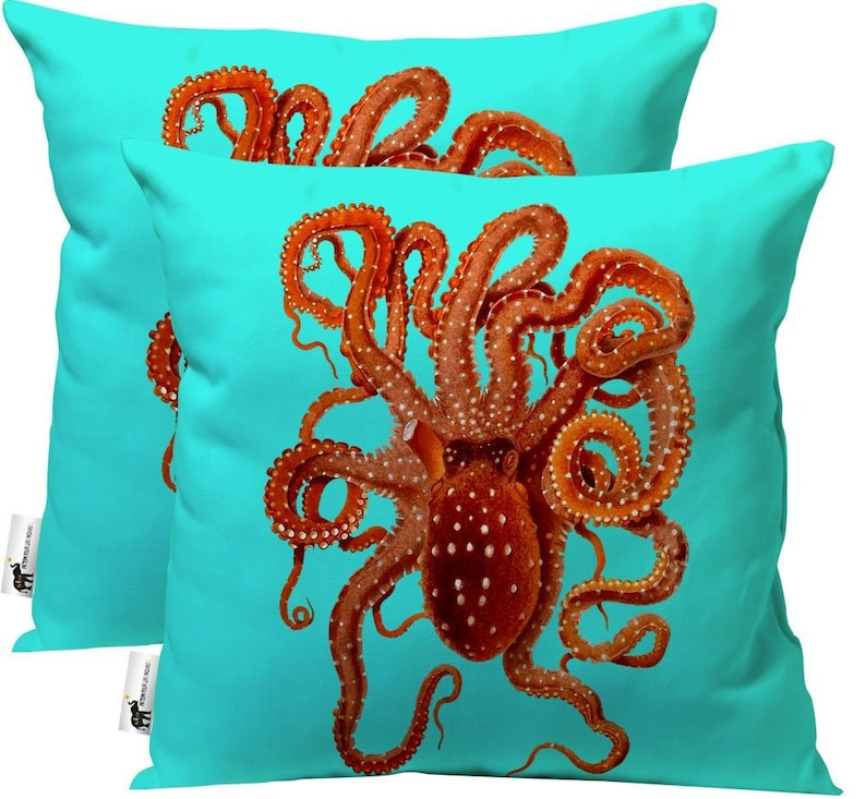 Vintage Nautical Octopus Outdoor Patio Pillows   Set Of 2   Teal Nautical  Throw Pillows   USA Handmade | UBU Republic