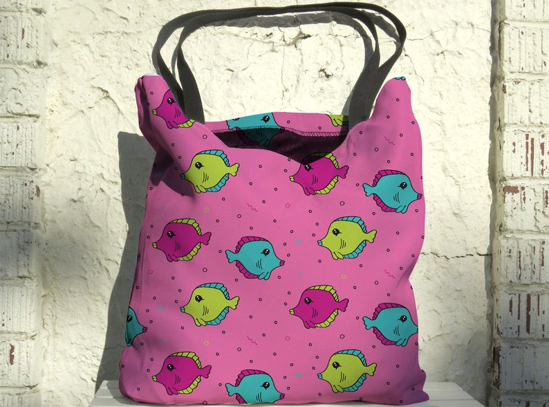 Artist Designed Tote Bag Fish Tank by Bigshot Robot UBU Republic 18 Inch Pink Beach Bag