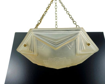 6a26d268f12a Stunning Art Deco Glass Chandelier Signed By Muller Freres Luneville 1930s