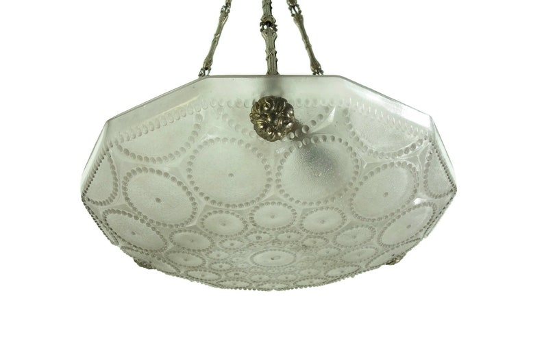 Beautiful 1930s Art Deco Glass Drops Silver-Plated Bronze Fitting Chandelier