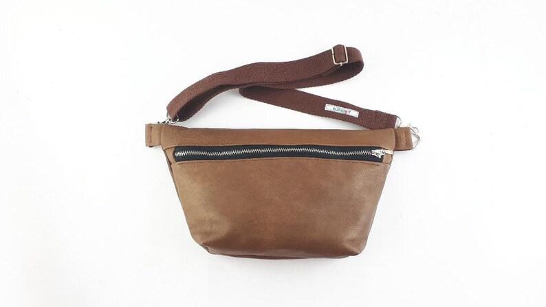 Belt bagcross body bag in brown soft leather