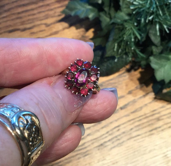 Gorgeous Victorian Garnet Plaque Ring